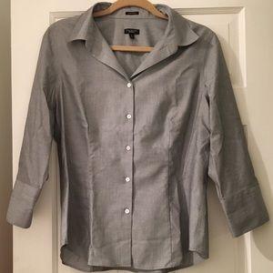 Talbots 100% Cotton Wrinkle Resistant Grey Blouse
